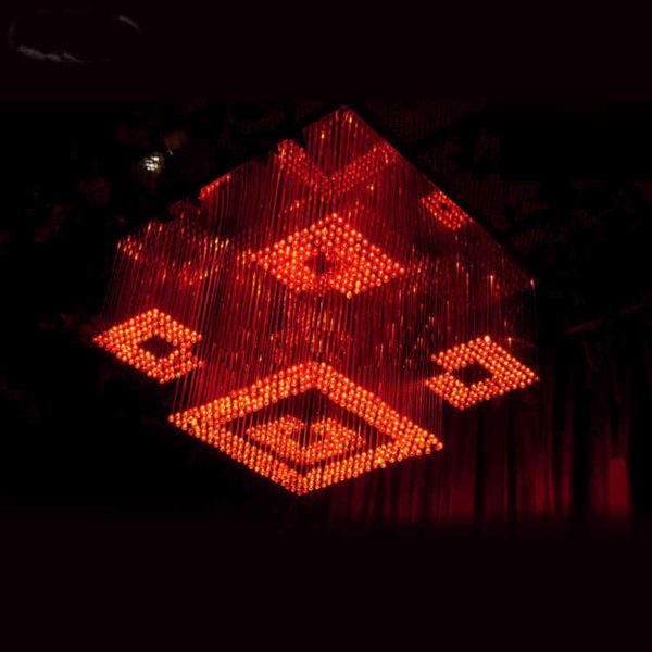 Square Pendant Fiber Optic Light Chandelier 0.6×0.6 Meter