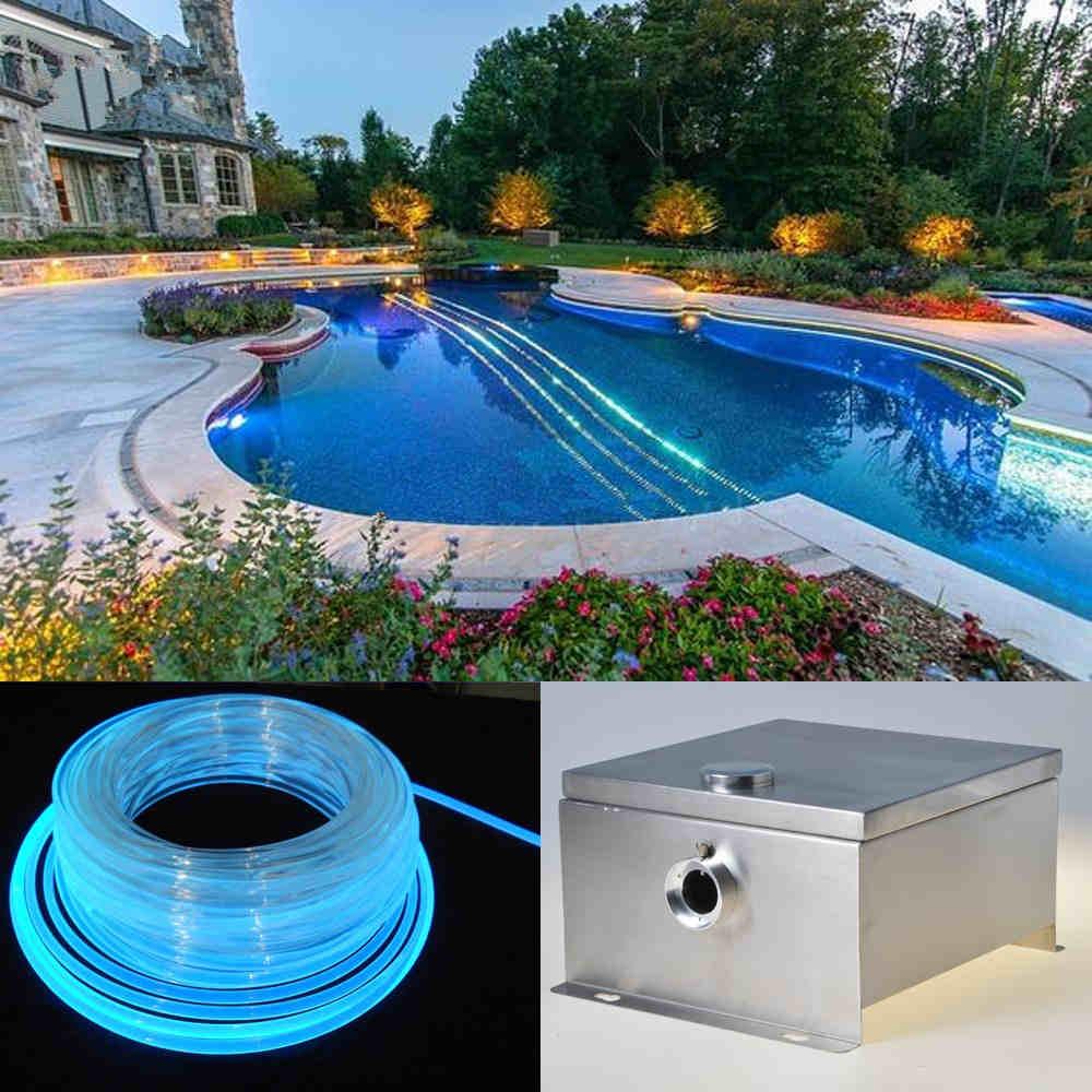 80W Side Glow Fiber Optic Swimming Pool Lighting Kits