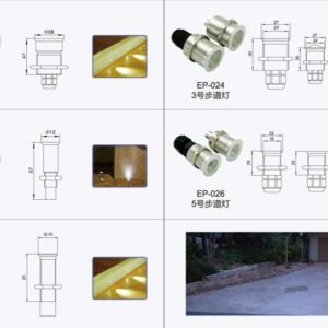 Dimensions for Stainless Steel Fiber Optic Pool Lighting Fittings