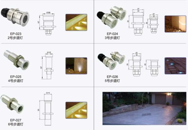 Dimensions for Stainless Steel Fiber Optic Pool Lighting Fittings