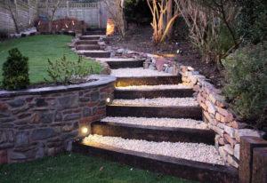 1x3W Flat Round Outdoor Low Voltage Concrete Step Lights